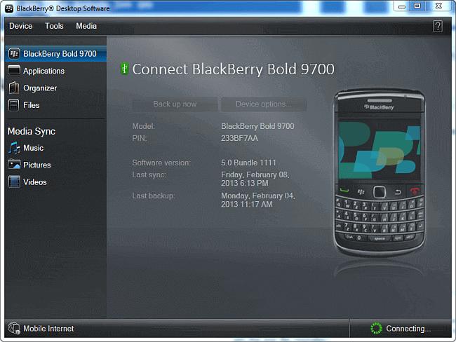 blackberry desktop software main program window