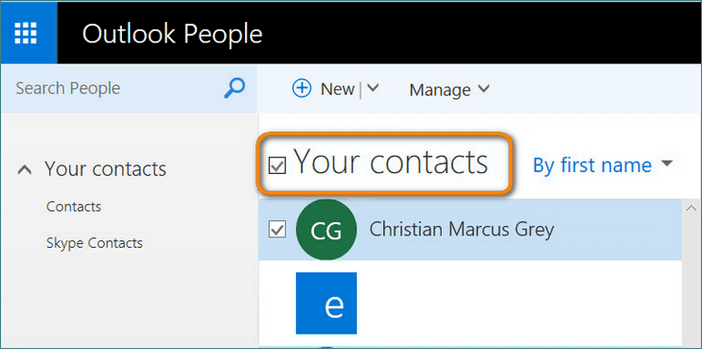 Choose contacts to export in Outlook