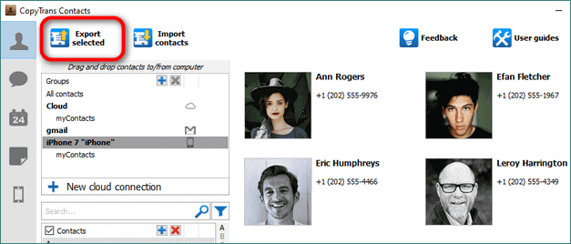 Export button for csv contacts