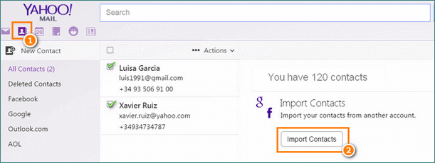 iPhone contacts import to Yahoo in vcf format