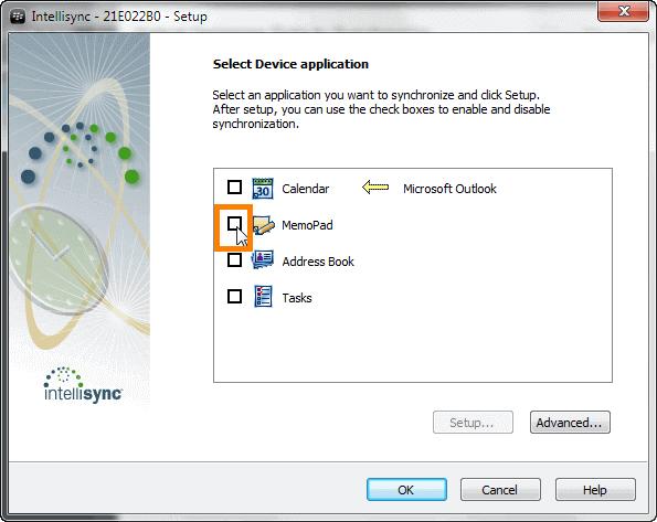select memopad from intellisync wizard