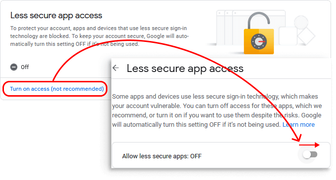 Google Less Secure Apps options