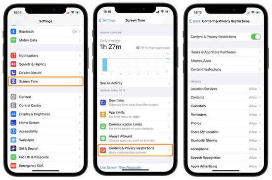disable restrictions in ios 14