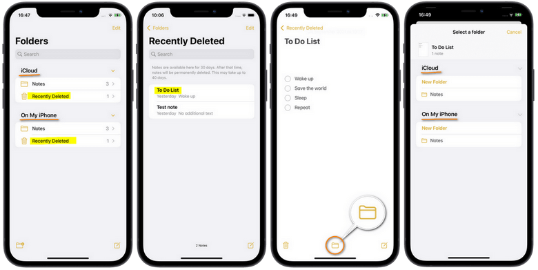recently deleted notes on iphone folder recovery