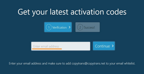 activation codes screen