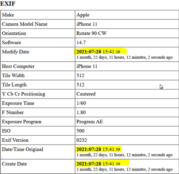 exif data table