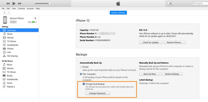 Encrypt iPhone backup in iTunes