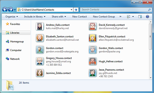 Windows Contacts in Windows Explorer
