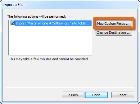 custom field mapping in outlook