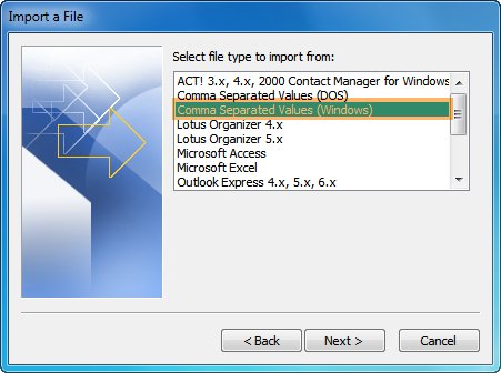 locate pc folder with CSV file to import to outlook