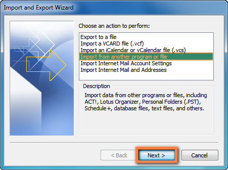 Outlook import wizard begin