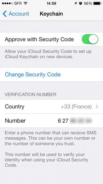 update keychain phone number and security code