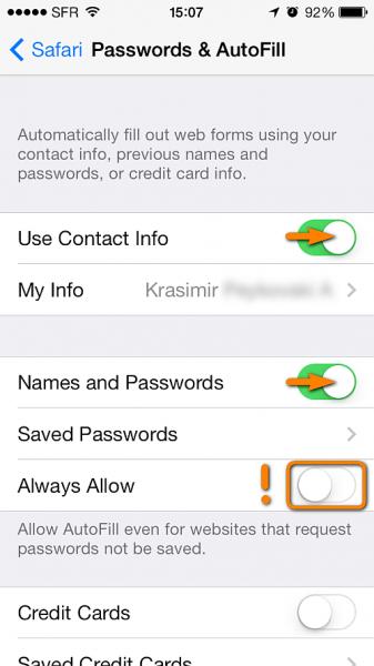 edit safari password and autofill options on iphone