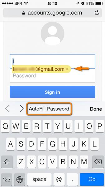 autofill username and password in safari