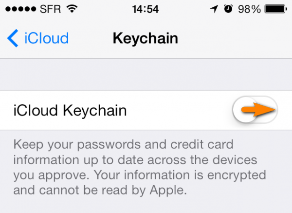 icloud keychain switch on