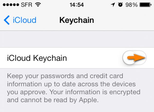icloud keychain switch on