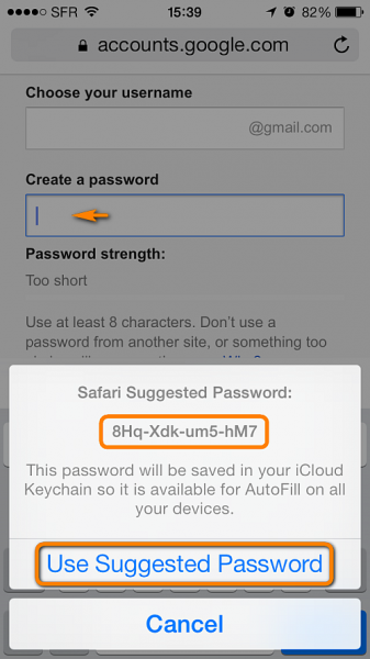keychain suggests password in safari