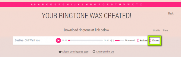 click on iphonr button and download a ringtone