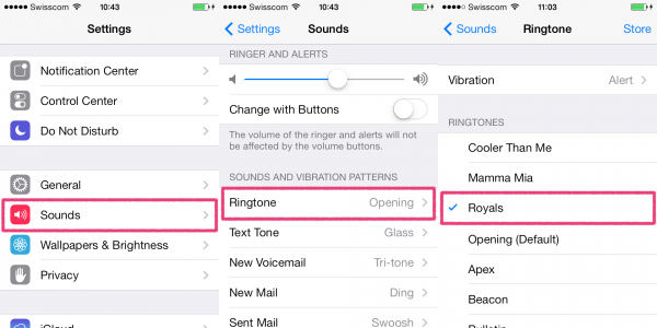 set ringtone on iphone