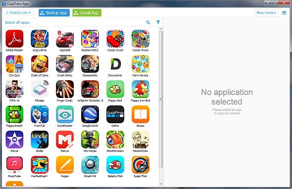 ipad apps appear in main copytrans window