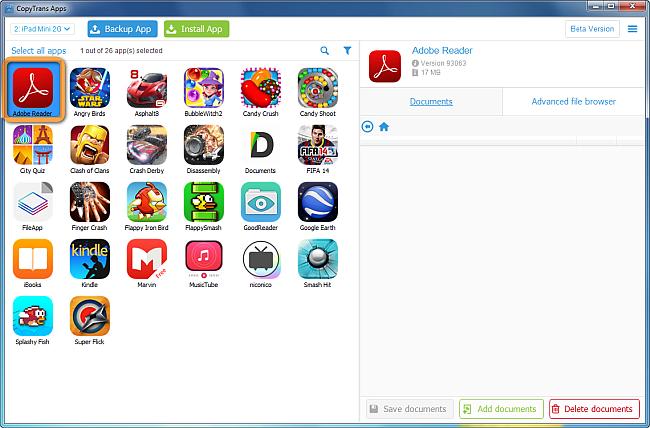 list of ipad apps on copytrans main program window