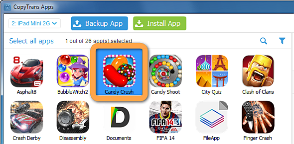 candy crush selected on pc window
