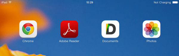 ios home screen displaying adobe reader
