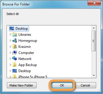 browse for pc file destination