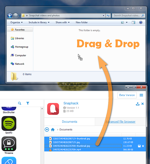 drag and drop snaphack photos and videos to pc folder