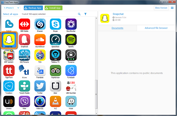 snapchat selected in main copytrans apps window