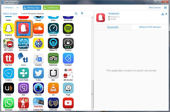 snaphack app selected in copytrans apps