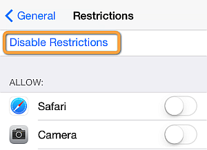 disable all iphone restrictions