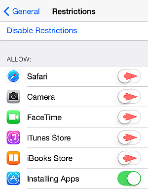 iphone restrictions screen