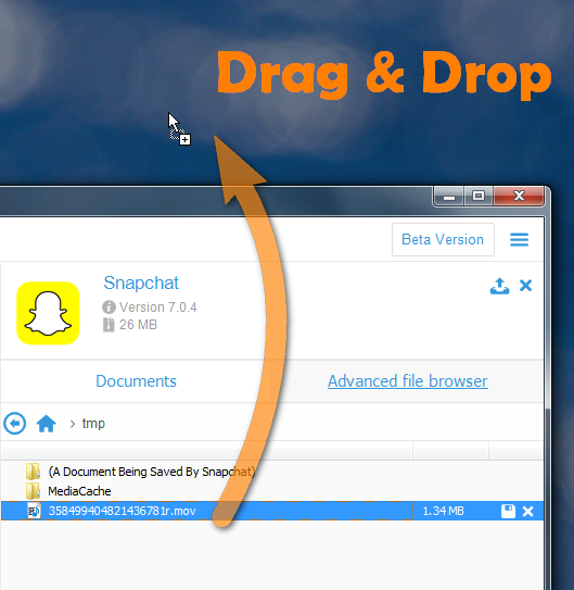 transfer snapchat video from copytrans window to pc desktop
