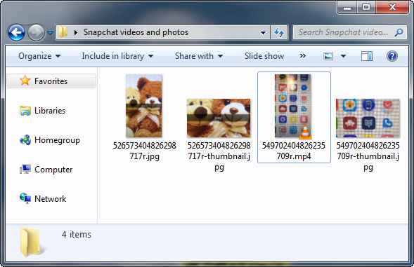 snapchat video and photos appear in computer folder