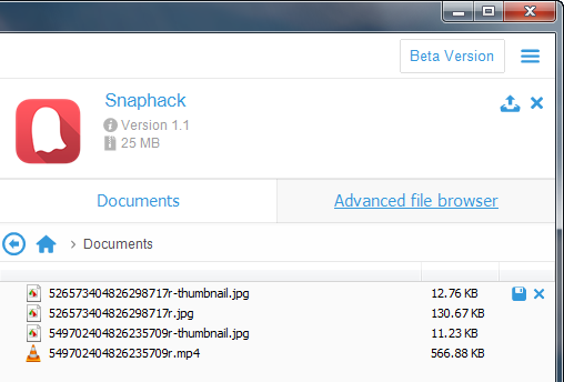 snapchat received videos and photos shown in snaphack app files