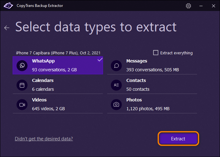 extract data from a backup