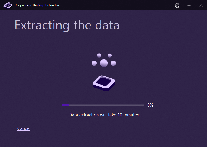 extracting data from a chosen backup