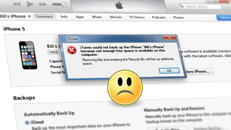 Solved: iTunes can't backup iPhone because not enough free