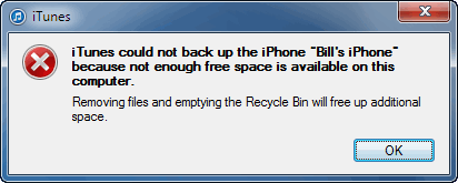 iTunes could not back up the iPhone because not enough free space is available on this computer