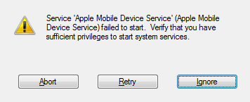 apple mobile device amd service failed to start