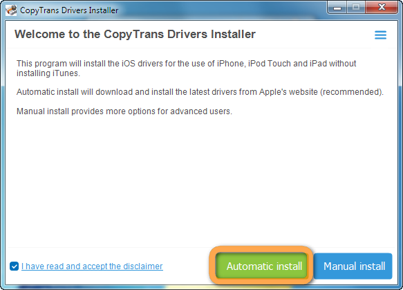 copytrans drivers installer main window