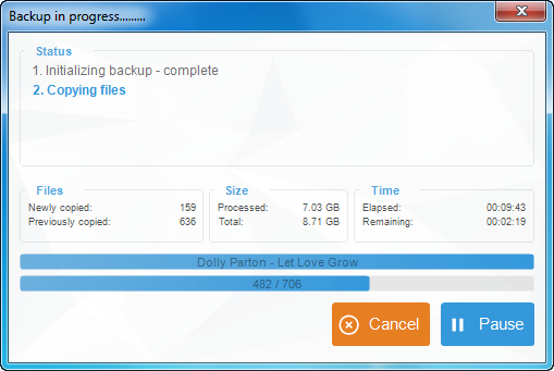 copytrans backup progress window