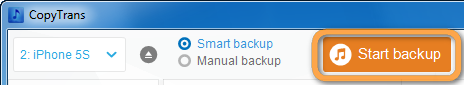 smart backup button in copytrans