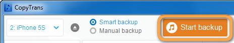 smart backup button in copytrans