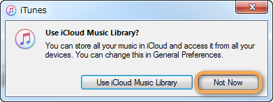 icloud music library prompt not now