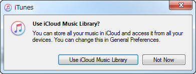 use icloud music library itunes prompt