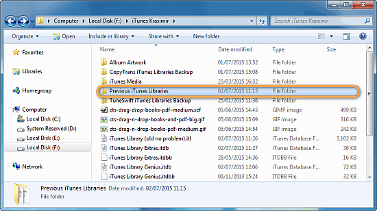 windows explorer window showing folder previous itunes library