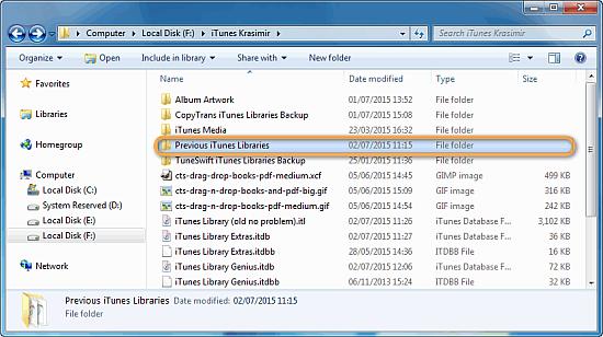 windows explorer window showing folder previous itunes library