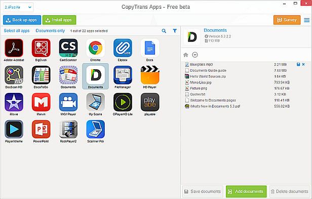 main copytrans apps window showing app documents